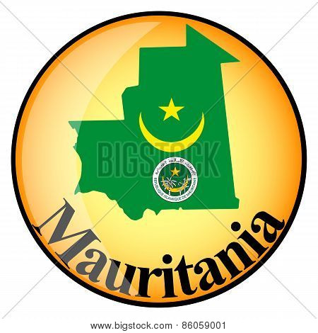 Orange Button With The Image Maps Of Mauritania