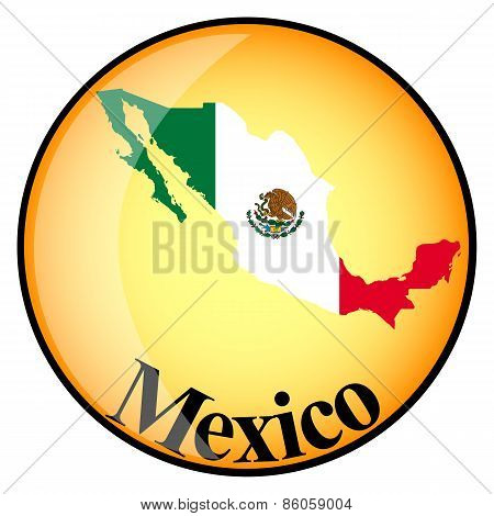 Orange Button With The Image Maps Of Mexico