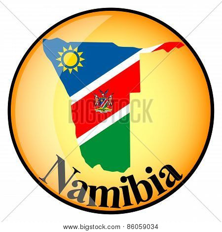 Orange Button With The Image Maps Of Namibia