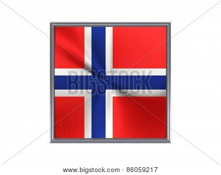 Square Metal Button With Flag Of Norway