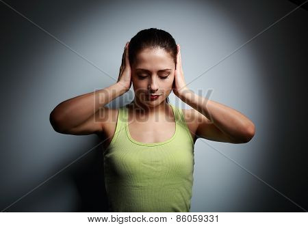 Concentrate Young Woman Thinking And Holding Head With Pain