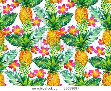 Seamless Tropical Floral Pattern With Pinapple.