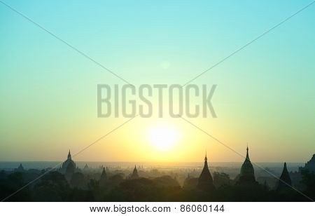 Bagan Pagodas At Sunrise