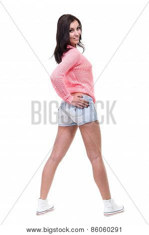 portrait of sexy young woman isolated on white