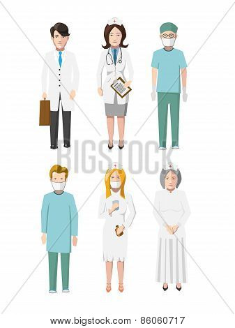 Set of six doctors flat cartoon characters different specializations on white