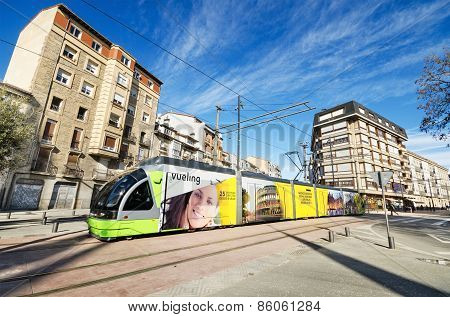 Modern tram. Vitoria public transport, Spain.