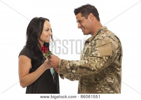 Soldier Giving Rose To His Wife