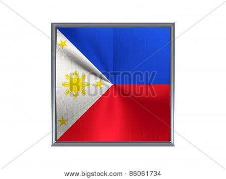 Square Metal Button With Flag Of Philippines