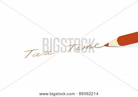 Business concept - a red pencil writes on a white background