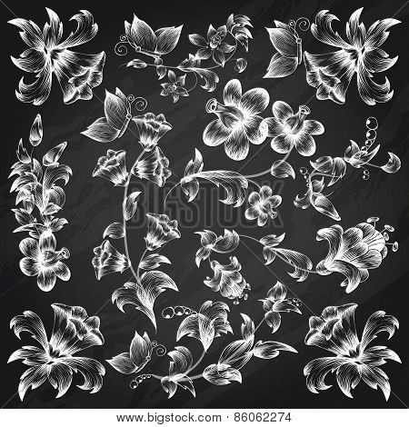 Black and white floral ornate elements template