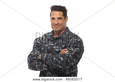 Smiling Navy Man Posing Against White Background