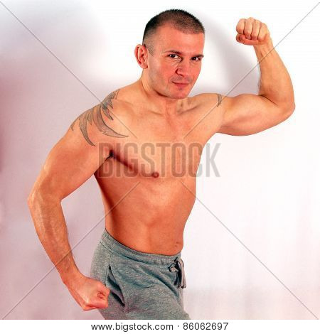 Man Is Posing On White Background