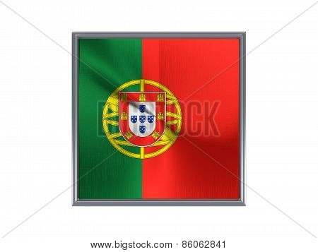 Square Metal Button With Flag Of Portugal