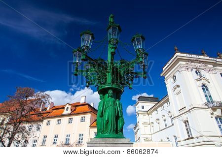 Historic Street Lamp And Archbishop's Palace At The Castle Square, Prague
