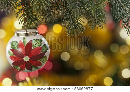 Closeup Of Colored Christmas Balls On Colored Background