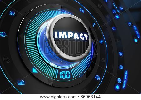 Impact Button with Glowing Blue Lights.