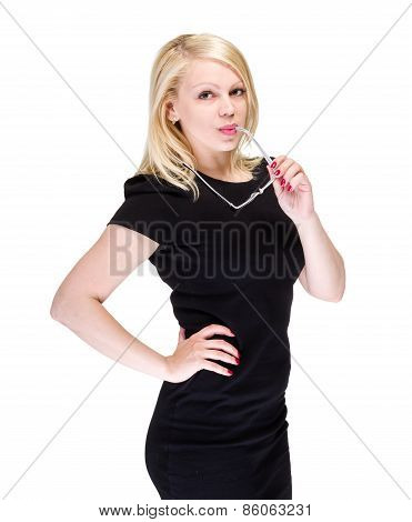 Business woman with copyspace isolated