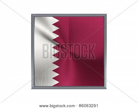 Square Metal Button With Flag Of Qatar