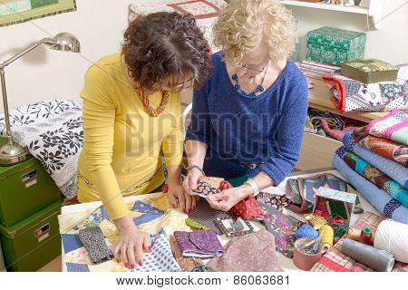 Two Women Working On Their Patchwork