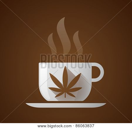 Coffee Cup With A Marijuana Leaf