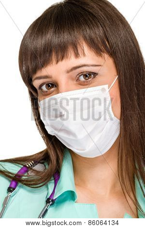 Female doctor wearing surgical mask