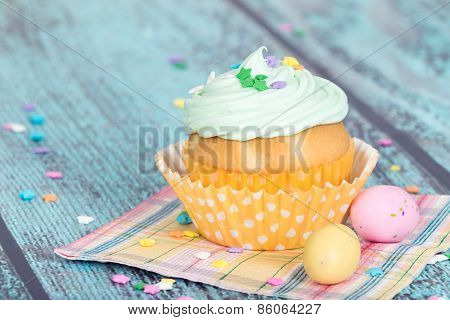 Easter Cupcake With Candy And Sprinkles