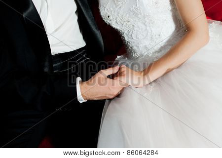 Wedding hands of couple