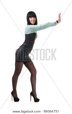 Business woman presenting a copyspace. Isolated on white.