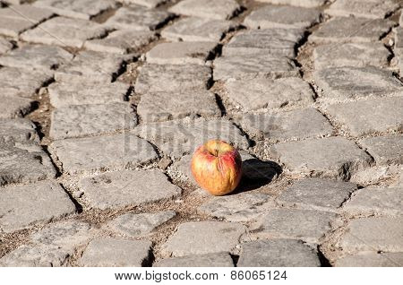 Apple on grunge stone paving