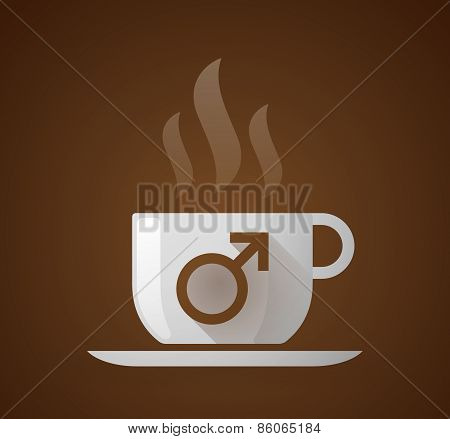 Coffee Cup With A Male Sign