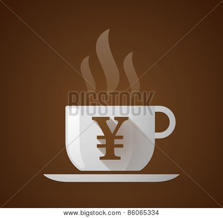 Coffee Cup With A Yen Sign