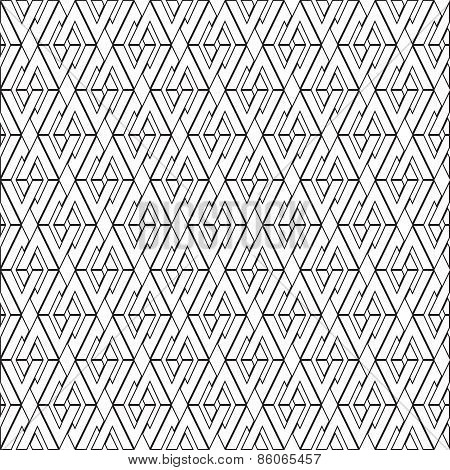 Symmetrical geometric shapes black and white vector textile backdrop. Can be use as fabric pattern.