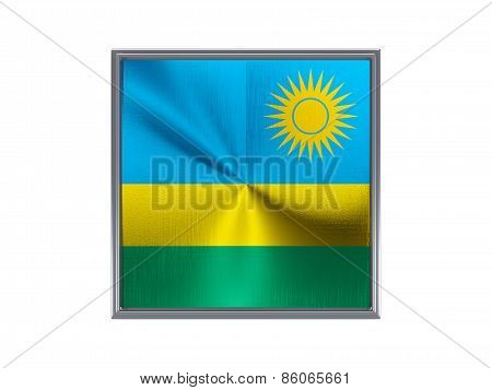 Square Metal Button With Flag Of Rwanda