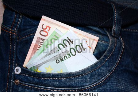 Euro Notes In The Pocket Of Jeans