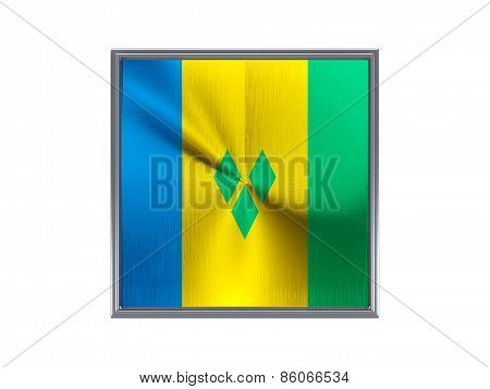 Square Metal Button With Flag Of Saint Vincent And The Grenadines