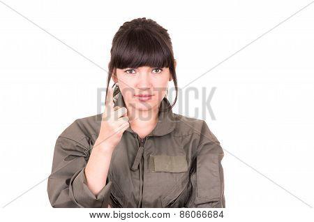 beautiful young female pilot wearing uniform