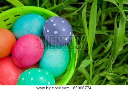 Closeup On Easter Eggs In A Pail