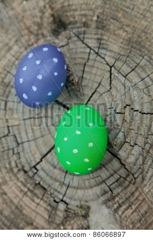 Two Easter Eggs On A Stump