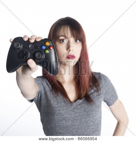Young Woman Showing Video Game Joysticks