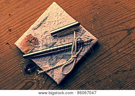 Old Diary Memories With Fountain Pen On A Wooden Table 1