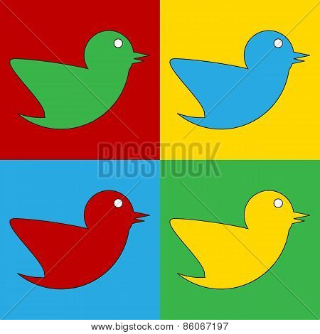 Pop Art Bird Symbol Icons.