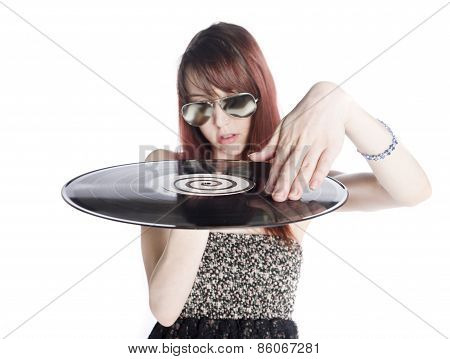 Close up Young Woman Holding a Vinyl Record