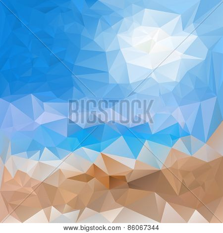 Vector Polygonal Background Pattern - Triangular Design In Sea Sand Bea