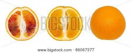 Isolated Orange Fruits And Slices