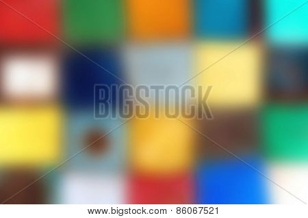 Blurred Background Painted Metal Squares