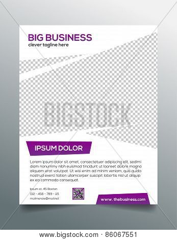 Clean modern business flyer template in purple white design