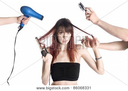 Unhappy Young Woman with Two Hairstylists