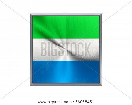 Square Metal Button With Flag Of Sierra Leone