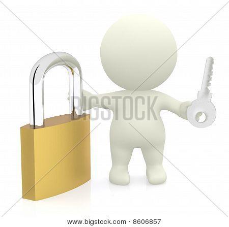 3D Man With Padlock And Key