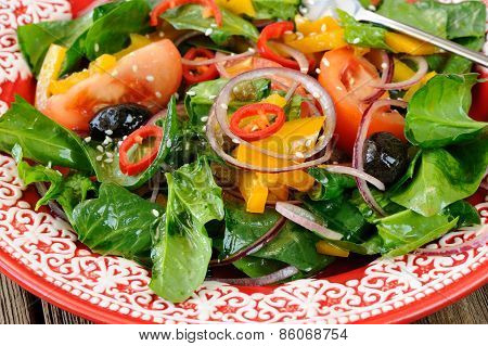 Raw Salad With Vegetables: Spinach, Tomatoes, Olives, Onion, Bell Pepper In Scarlet Plate Close Up